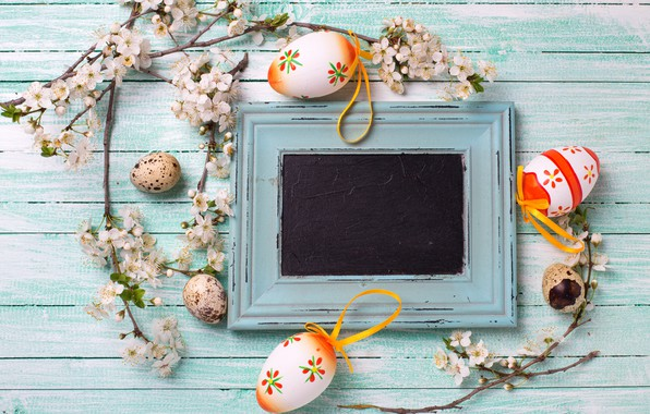Picture branches, spring, Easter, wood, Verba, flowers, spring, Easter, eggs, decoration, Happy, the painted eggs
