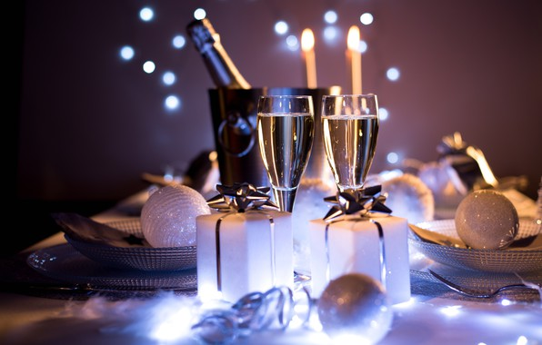 Picture Christmas, style, food, New Year, holiday, glasses, champagne, elegance, presents, dishes