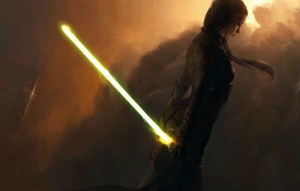 Picture girl, star wars, Star Wars, lightsaber, laser sword, green lightsaber