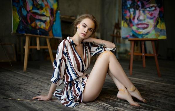 Picture paint, tattoo, legs, the beauty, brush, Anastasia Shcheglova