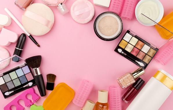 Picture lipstick, shadows, brush, pink background, cream, cosmetics, powder, curler