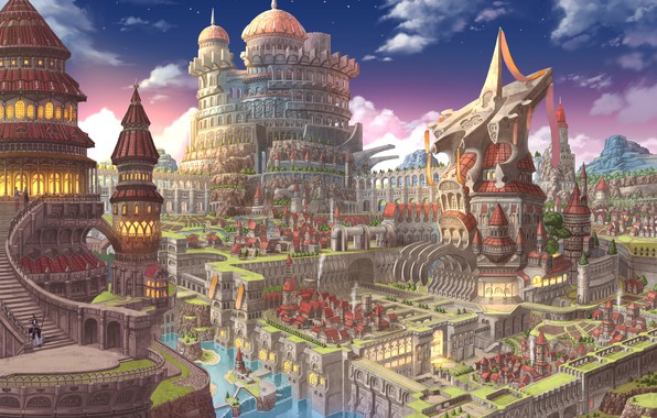 Photo Wallpaper The City Anime Art Fantasy Witch