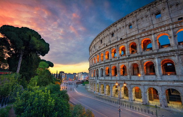 Picture road, Rome, Colosseum, Italy, architecture, Italy, Colosseum, Rome, amphitheatre, Ancient Rome