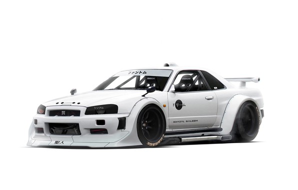 Picture Nissan, minimalism, White, Skyline, Tuning, Future, R34, by Khyzyl Saleem