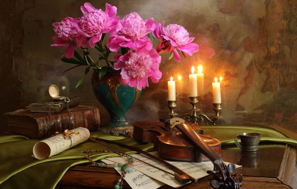 Picture notes, violin, watch, bouquet, candles, necklace, book, bow, peonies