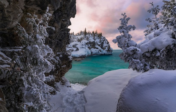 Picture winter, snow, trees, lake, Canada, the snow, Ontario, Canada, Ontario, Bruce Peninsula National Park, National …