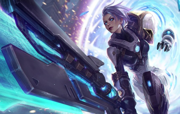 Picture look, girl, weapons, League of Legends