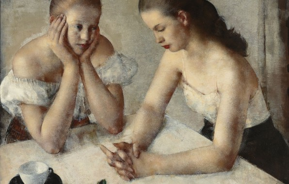 Picture girls, rose, Grigory Gluck Man, Dreamer