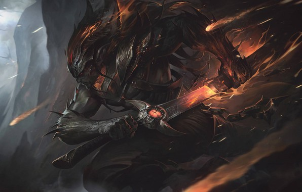Picture the game, the demon, art, League of Legends, Alex Flores, Nightbringer Yasuo, the demon Yasuo