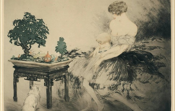 ... Wallpaper Japanese Garden 1925 Art Deco Etching And Aquatint