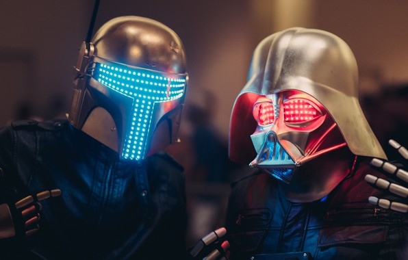Picture Music, Star Wars, Darth Vader, Mask, Art, Digital, Boba Fett, Mask, Neon lights, Darth Punk