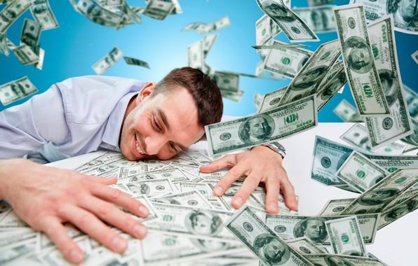 Picture joy, happiness, smile, table, money, male, dollars, the bucks, bills