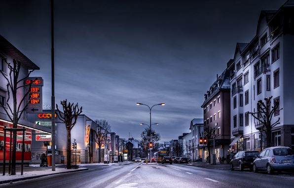 Picture Home, Winter, The evening, The city, Switzerland, Street, Road, Arbon