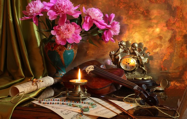 Picture notes, violin, watch, candle, bouquet, beads, still life, peonies