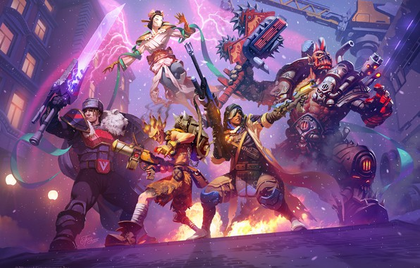 Picture blizzard, art, hots, ana, Auriel, Heroes of the Storm, garrosh, Overwatch, junkrat, varian