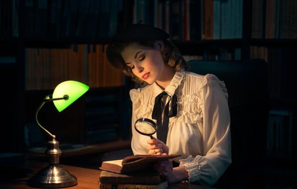 Picture girl, mood, books, lamp, blouse, library, magnifier, takes, iBi Photo, Daria Góźdź
