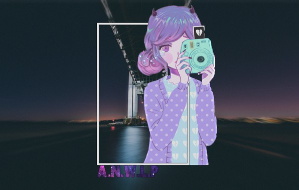 Picture girl, night, bridge, the city, anime, the camera, madskillz, madskillz anime