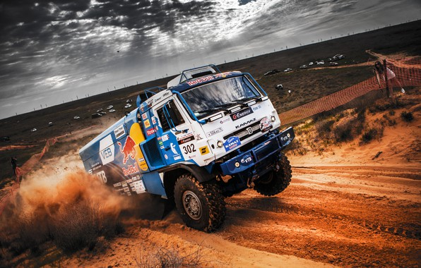 Photo wallpaper The sky, Sand, Nature, Sport, Speed, Truck, Race, Master, Beauty, Russia, Beast, 302, Kamaz, Rally, ...