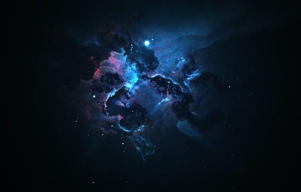 Picture space, stars, light, blue, nebula, pink, dark, light, ruffle, art, dark, Space, nebula, darkness, space …
