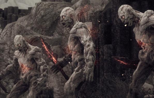 Picture fire, flame, rock, game, blade, The Elder Scrolls V: Skyrim, giant, The Elder Scrolls, warrior, …