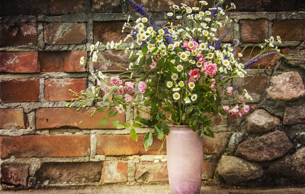 Picture flowers, wall, roses, bouquet, brick, vase, still life, field, floral arrangement
