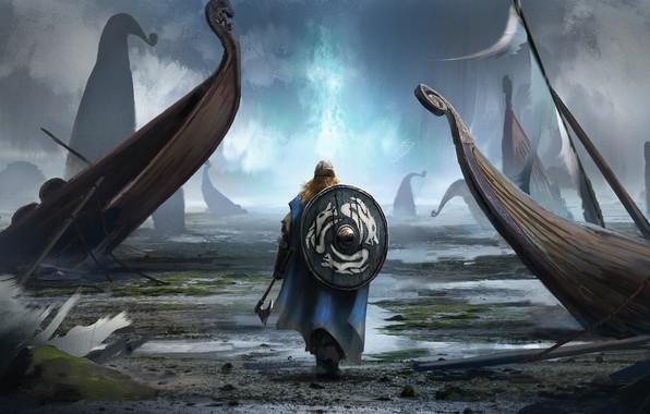 Photo wallpaper axe, man, pearls, shield, bolt, viking, viking cataclysm
