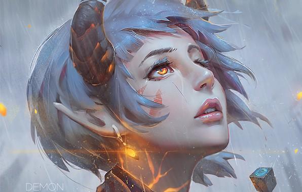 Picture lights, earrings, fantasy, horns, elf, blue hair, art, yellow eyes, portrait of a girl, Guweiz