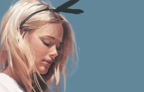 Picture face, blonde, art, blue background, bezel, closed eyes, portrait of a girl, Kyrei0201