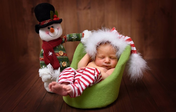 Picture toy, Board, sleep, chair, baby, snowman, child, cap, baby