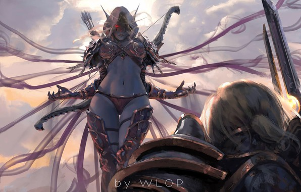 Picture girl, sword, World of Warcraft, fantasy, game, Warcraft, armor, red eyes, men, painting, weapons, elf, …