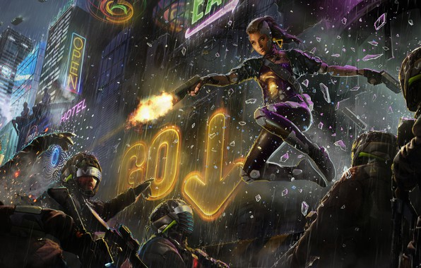 Picture girl, night, the city, gun, fiction, rain, police, art, glasses, helmet, sign, special forces, cyberpunk