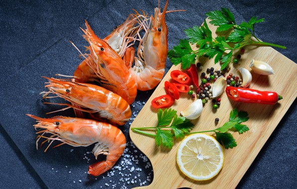 Picture greens, lemon, pepper, shrimp, garlic