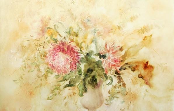 Picture flowers, vase, Flowers, Still life, chrysanthemum, Sfumato, gift painting, Petrenko Svetlana