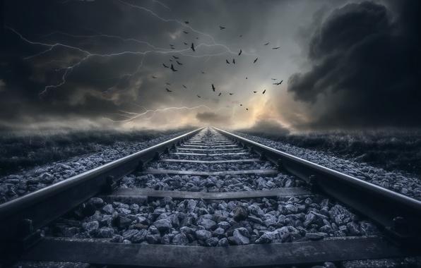 Picture nature, perspective, railroad