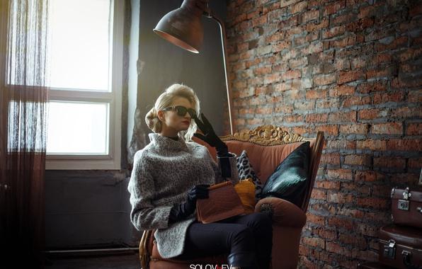 Picture style, wall, model, lamp, chair, glasses, gloves, sweater, SOLOVЬEV, Artem Soloviev, Julia Filatova
