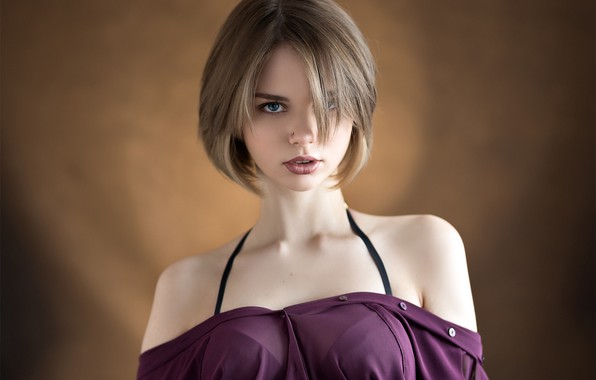 Picture look, face, background, haircut, portrait, shoulders, Anastasia Yumashev, Eugene Sibirev