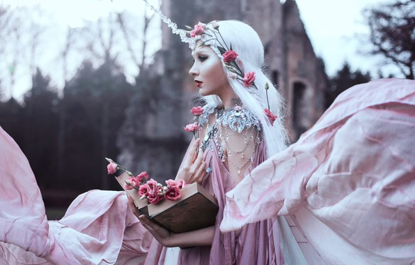 Picture girl, decoration, flowers, book, Bella Kotak, Sweet blush of rose, Mary Amanda Lindqvist Thomassen