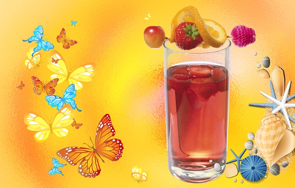 Picture BUTTERFLY, SHELL, MOOD, SUMMER, BERRIES, JUICE, THE WALLPAPERS