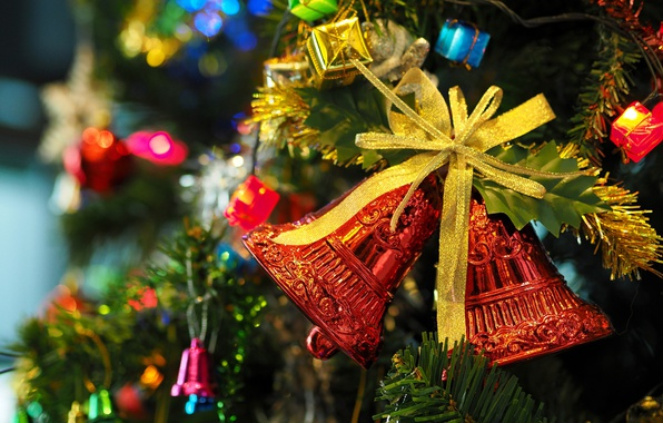 Picture decoration, holiday, tree, garland, bow, bells