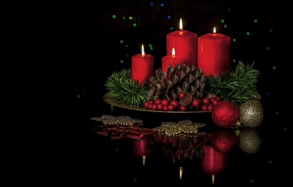 Picture balls, decoration, reflection, berries, candles, bump, black background, composition