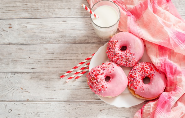 Photo wallpaper glass, food, milk, donuts, napkin, glaze