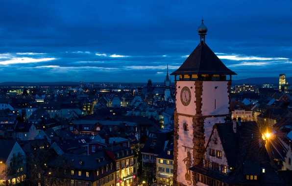 Picture night, lights, tower, Germany, panorama, Baden-Württemberg, Freiburg