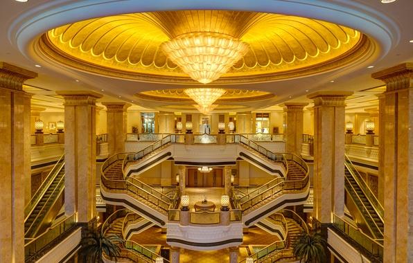 Picture ladder, chandelier, the hotel, escalator, UAE, Abu Dhabi