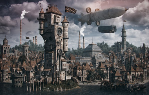 Picture the city, building, the airship, structure, steampunk