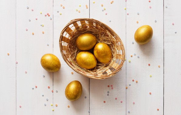 Picture gold, holiday, basket, eggs, Easter