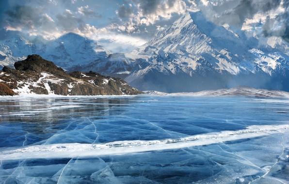 Picture mountains, nature, lake, art, Matte Painting, Viktor Rudenko