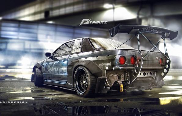 Picture Auto, Figure, Machine, Tuning, Background, Nissan, Car, Car, Art, Art, R32, Skyline, Nissan Skyline, Rendering, ...