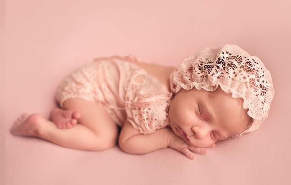 Picture child, sleep, sleeping, girl, baby, cap