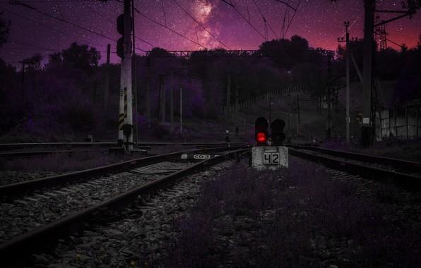 Picture space, sunset, traffic light, Stalker, Dnepr, spacebit, Dnepropetrovsk, railway tracks, railway road