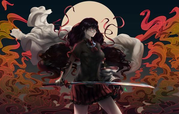 Photo wallpaper girl, fiction, sword, art